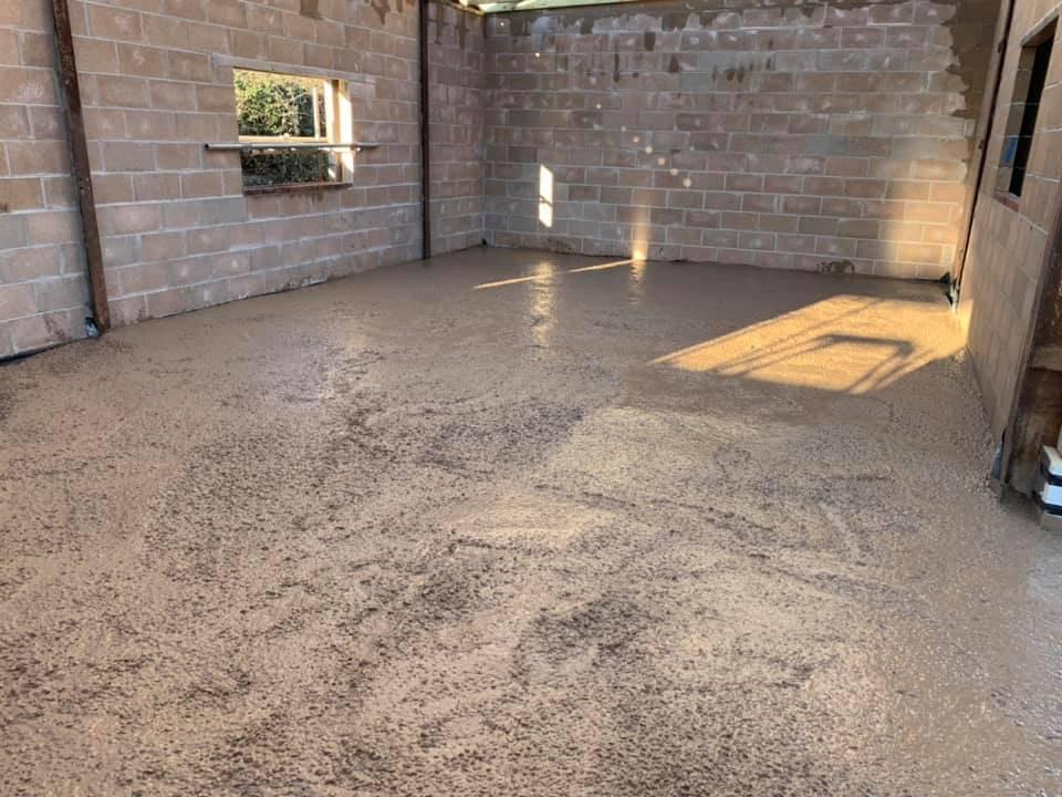 freshly laid concrete floor