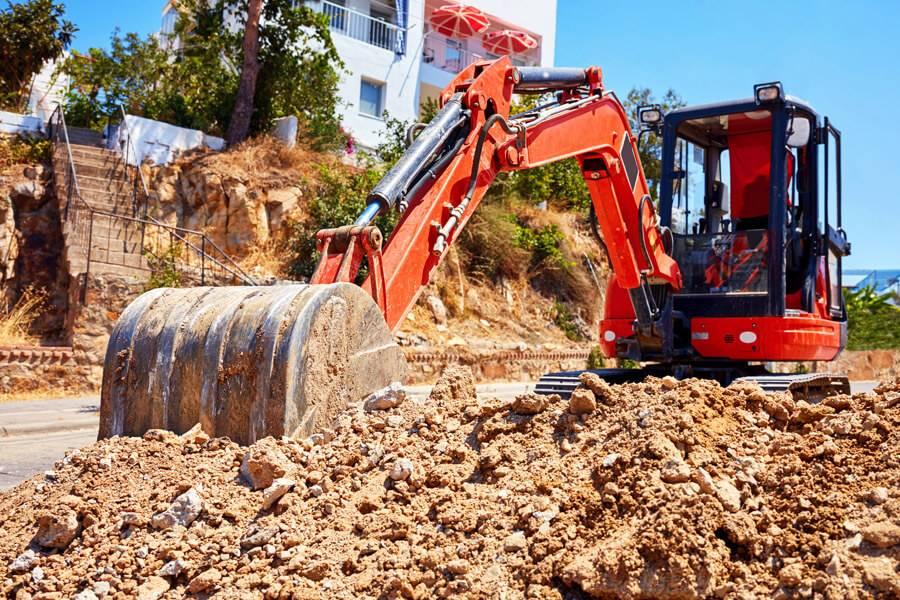 excavator working on site