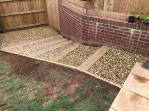 garden steps with gravel